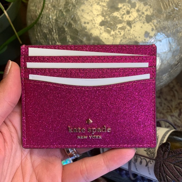 Authentic Kate spade glitter card case in gift box
